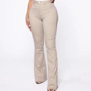 Valentina High Rise Flare Jeans - Cream/Beige